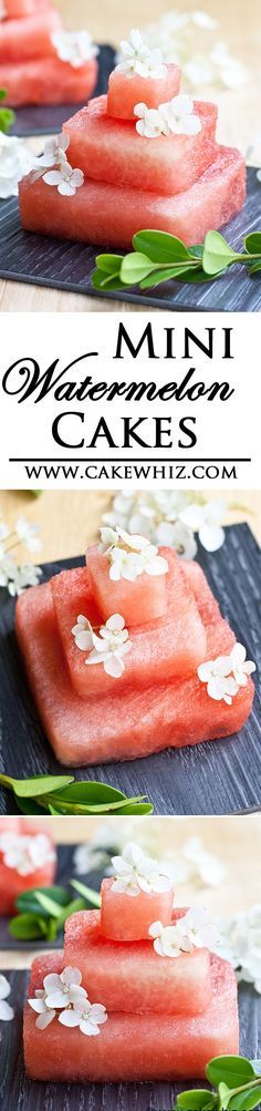 These mini WATERMELON CAKES are sure to be a hit at your next party! Easy to make, healthy and so refreshing! From cakewhiz.com