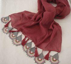 Scarf Turkish-Anatolian Oya Scarf Hand Crocheted Lace Scarf Burgundy Soft Cotton Scarf Ethnic Scarf Authentic Scarf Turkish Scarf Headband – Pin's Page Crochet Lace Scarf, Crochet Motifs, Cotton Crochet, Lace Knitting, Hand Crochet, Crocheted Lace, Crochet Patterns, Scarf Knit, Crochet Borders