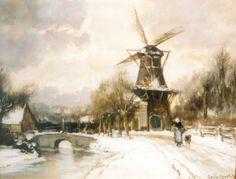 Lodewijk Franciscus Hendrik 'Louis' Apol (Den Haag 1850-1936) De Korenmolen op de Parkweg,  Voorburg - Kunsthandel Simonis en Buunk, Ede (Nederland).