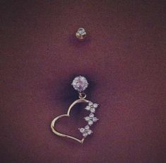 Cute diamond heart belly button ring!