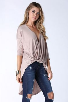 Pull on long back top with beautiful front drape design. Slightly sheer with plunging neckline. L...