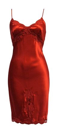 Femme Fatale Vintage Silk Full Slip, Farr West The red silk is very dark and mysterious. -luckypinup.com