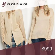 Zip Back Spliced Sweater This sweater has a back zipper which opens to expose a darling plaid shirt back. Fabric: 55% acrylic/25% cotton/20% polyester. Sweaters Crew & Scoop Necks