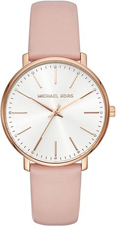 Michael Kors Women's Stainless Steel Quartz Watch with Leather Calfskin Strap, Pink, 18 (Model: Watches Main Image, Cuir Rose, Seiko Watches, Wrist Watches, Casual Watches, Ring Verlobung, Beautiful Watches, Quartz Watch, Michael Kors Watch