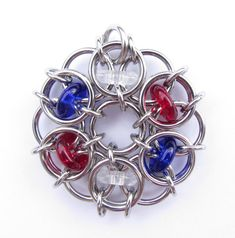 Chain Maille Pendant in Red White and Blue by XairianMaille, $35.00