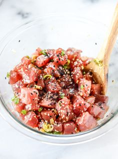Ahi Poke Bowls with Pineapple and Avocado. - How Sweet Eats ahi poke bowl with avocado and pineapple Fish Recipes, Seafood Recipes, Asian Recipes, Cooking Recipes, Healthy Recipes, Fresh Tuna Recipes, Tuna Steak Recipes, Keto Recipes, Tuna Poke