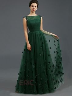 Just Shop for Solid Color Stereo Flower Sleeveless Tulle Elegant Dresses from Jollyhers Online now: All Kinds of Designer Special Occasion Dresses wit. Green Evening Dress, A Line Evening Dress, A Line Prom Dresses, Bridesmaid Dresses, Summer Dresses, Wedding Dresses, Homecoming Dresses, Green Gown, Long Dresses