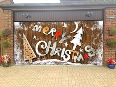 merry christmas garage door covers 3d banners holiday tree decorations outdoor billboard murals gd42 - Garage Christmas Decorations
