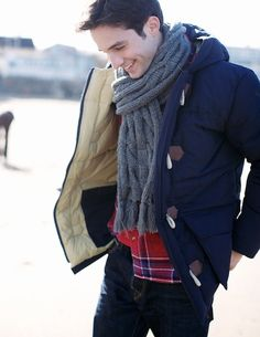 Winter look- dark denim, plaid button up, chunky scarf, down coat with toggles