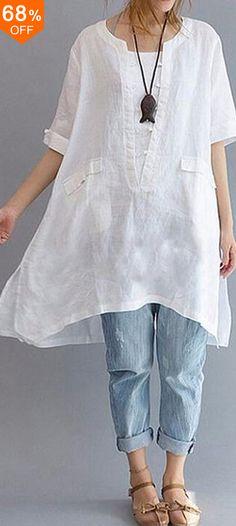 Women Cotton Linen Short Sleeve Party Baggy Tops Split Hem Solid Blouse Plus Size Blouse En Coton, Mode Boho, Apron Dress, Shirt Dress, Tunic Blouse, Plus Size Shirts, Summer Blouses, Women Sleeve, Looks Style