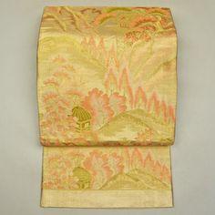 Mild orange, silk fukuro obi / 淡いオレンジの柄色が柔らかさを添える佐賀錦の袋帯    #Kimono #Japan http://global.rakuten.com/en/store/aiyama/
