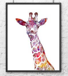 Masking ink, Stencil or Oil Pastels (water color resist) Colorful Watercolor Giraffe Animal Art Print Kids by Thenobleowl, $15.00