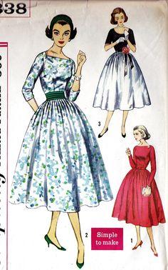 "1950s Junior Misses Cocktail Dress, Party Dress Vintage Sewing Pattern, Mad Men, Simplicity 2338 Bust 33"""
