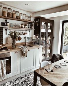 Our kitchen remodeling designs will add style and function to your home. View these kitchen remodel ideas to get inspired for your kitchen makeover. Boho Kitchen, Home Decor Kitchen, Kitchen Interior, New Kitchen, Home Kitchens, Kitchen Ideas, Kitchen Jars, Country Kitchen Decorating, Art For The Kitchen