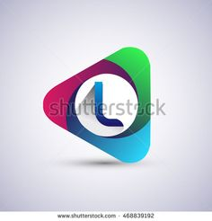 L letter colorful logo in the triangle shape, font icon, Vector design template…