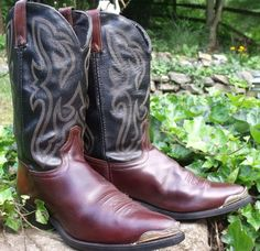Cowboy boots made in Texas brown black upper by OutOfMyMamasAttic, $69.99