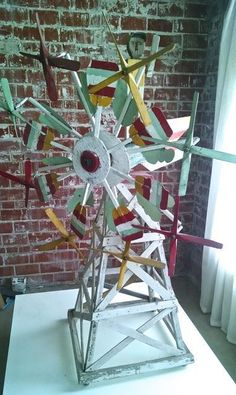 GIANT ANTIQUE WHIRLIGIG SCULPTURE, COMPLETE C. 1910 #Outsider