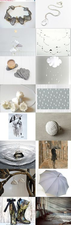 Raining by Roma Jure on Etsy--art art works cloud gifts ideas gray handmade home decor jewelry rain rain drops raining treasurybox umbrella white