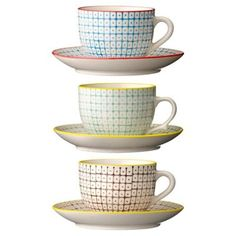 Bloomingville Set of three porcelain 'Carla' tea cups- at Debenhams.com