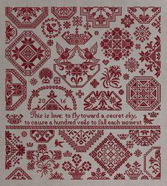 Quaker Sampler: A Secret Sky - Romantic Cross-Stitch Pattern 15 page Instant Download PDF booklet