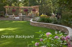 Build your dream backyard with Anchor wall products like the Highland Stone system featured on this beautiful raised patio. Build your dream backyard with Anchor wall products like the Highland Stone system featured on this beautiful raised patio. Backyard Retaining Walls, Backyard Patio, Stone Retaining Wall, Large Backyard, Home Landscaping, Front Yard Landscaping, House Landscape, Landscape Design, Back Gardens