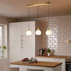 SKAFTET Triple cord set with ceiling mount, rectangle brass - IKEA Luminaire Led, Led Lampe, Ceiling Fixtures, Light Fixtures, Ceiling Lights, Pendant Lamp, Pendant Lighting, Incandescent Bulbs, Deco Mesh Wreaths