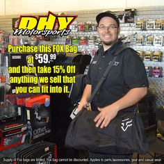 Looking for big #BlackFriday savings? Check out #TommyBoom at #DHYMotorsports with the magic 15% Off #Fox bag