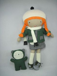 ViolaStudio  love the clothes (and the rest too)little girl plushie doll and her pet bear