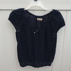 Hollister Navy Lace Tank Lace tank shirt from Hollister. Also available in white! Size medium. Hollister Tops Blouses