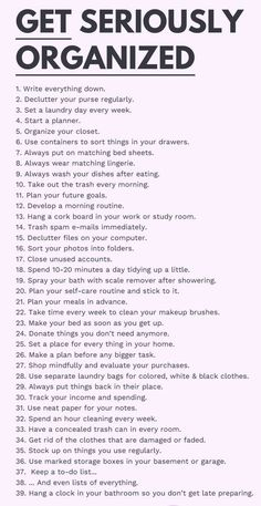 Get Seriously Organized. Daily Cleaning Lists, Household Cleaning Tips, Cleaning Hacks, Cleaning Checklist, Motivacional Quotes, Self Care Bullet Journal, Vie Motivation, Get My Life Together, Productive Things To Do