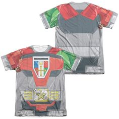 VOLTRON/COSTUME (FRONT/BACK PRINT)-ADULT POLY/COTTON S/S TEE-WHITE