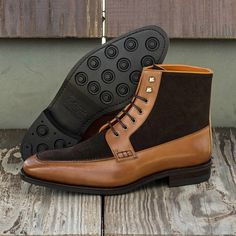 Custom Goodyear Welt Moc Boot in Dark Brown Luxe Suede and Cognac Box Calf Me Too Shoes, Men's Shoes, Shoe Boots, Custom Design Shoes, Goodyear Welt, Lace Up Ankle Boots, Your Shoes, Calf Leather, Designer Shoes