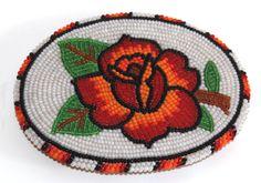 Native American Handmade Beaded Belt Buckle with Rose   eBay