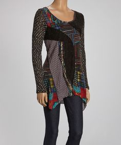 Take a look at this Black Patchwork Scoop Neck Top - Women by Radzoli on #zulily today! $45 !!
