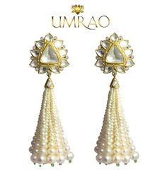 Polki with pearl tassels pearls.  Umrao Jewels showcasing at Bridal Asia 2015 at  The Ashok, New Delhi  17th-19th October, 2015 11 AM Onwards