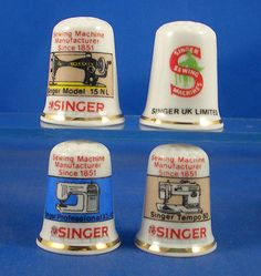 Fine China Thimble Set of Four Singer Sewing | eBay