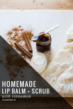 Homemade Lip Balm + Scrub with Cinnamon | HelloNatural.co