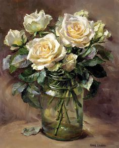 Signed print from the flower painting by Anne Cotterill. Signed by the Artist. Image size 9 x approx. Art Floral, Rose In A Glass, Oil Painting Flowers, Painting Art, Still Life Art, Anatomy Art, Beautiful Paintings, Painting Inspiration, Flower Art