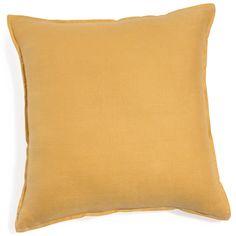 Cojín de lino lavado amarillo 60 x 60cm