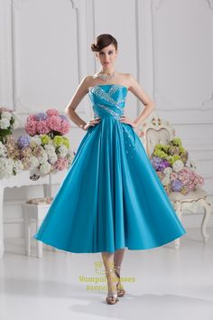 Strapless Aqua Blue Prom Dresses,Blue Party Dresses For Women