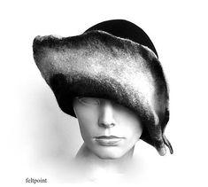 Black felt hat felt Cloche hat felted hat Hat Art Hat Black