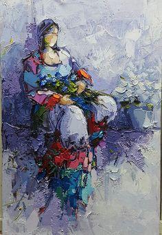 Gönül  40x60. Palette knife Abstract Portrait Painting, Sketch Painting, Figure Painting, Portrait Paintings, Acrylic Paintings, Art Paintings, Abstract Art, Rooster Painting, Unusual Art