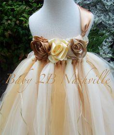 Wedding Flower Girl Dress, Tulle Flower Girl Dress in Golden Ivory 2-4T, Gold Flower Girl Dress on Etsy, $95.00