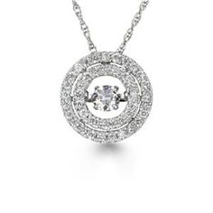 Stunning Dancing Diamonds at the center of this necklace. The Diamonds in Rhythm move to her heartbeat or movement. An essential Rhythm of Love diamond pendant that every women would love. The diamonds weigh .50tw and are H-I in color and I1 in clarity.
