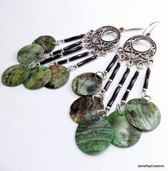 Beachy Bohemian Chandelier Earrings, Black Beaded Blue Green Mussel Shell Earring, Boho Gypsy Earrings, Long Hippie Earring Bohemian Jewelry by JamieRayCreations https://www.etsy.com/listing/215242121/beachy-bohemian-chandelier-earrings