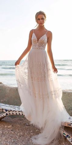 39 Vintage Inspired Wedding Dresses ❤ vintage inspired wedding dresses rustic sweetheart neck spaghetti straps lace straight limor rosen ❤ See more: http://www.weddingforward.com/vintage-inspired-wedding-dresses/ #weddingforward #wedding #bride #laceweddingdresses
