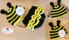 Bumble Bee Crochet Hat & cute baby diaper cover with Ruffles♥  This hat looks adorable for girls (detachable flower) or boys and makes a great photography prop or everyday.    Hat Price:  $20 usd + Shipping (Newborn, 0-3 m)  $24 usd + shipping (3-6m) (6-12m)  $28 usd+ Shipping (2-4. 4-6y)    Diaper Cover (0-12m) $12.00  sealedwithakisses@gmail.com