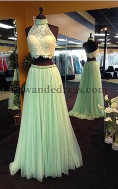 Lace Tulle 2 Pieces Prom Dress A Line Beaded Layers Light Green 32347   Lewande 32347 9f245bd1f682