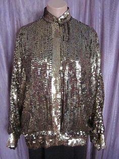 GOLD SEQUIN sequined vintage silk bomber jacket // by OGOvintage, $65.00
