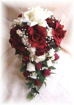 11pc Silk Wedding Bridal Bouquet Burgundy Cream Ivory Cascade Roses